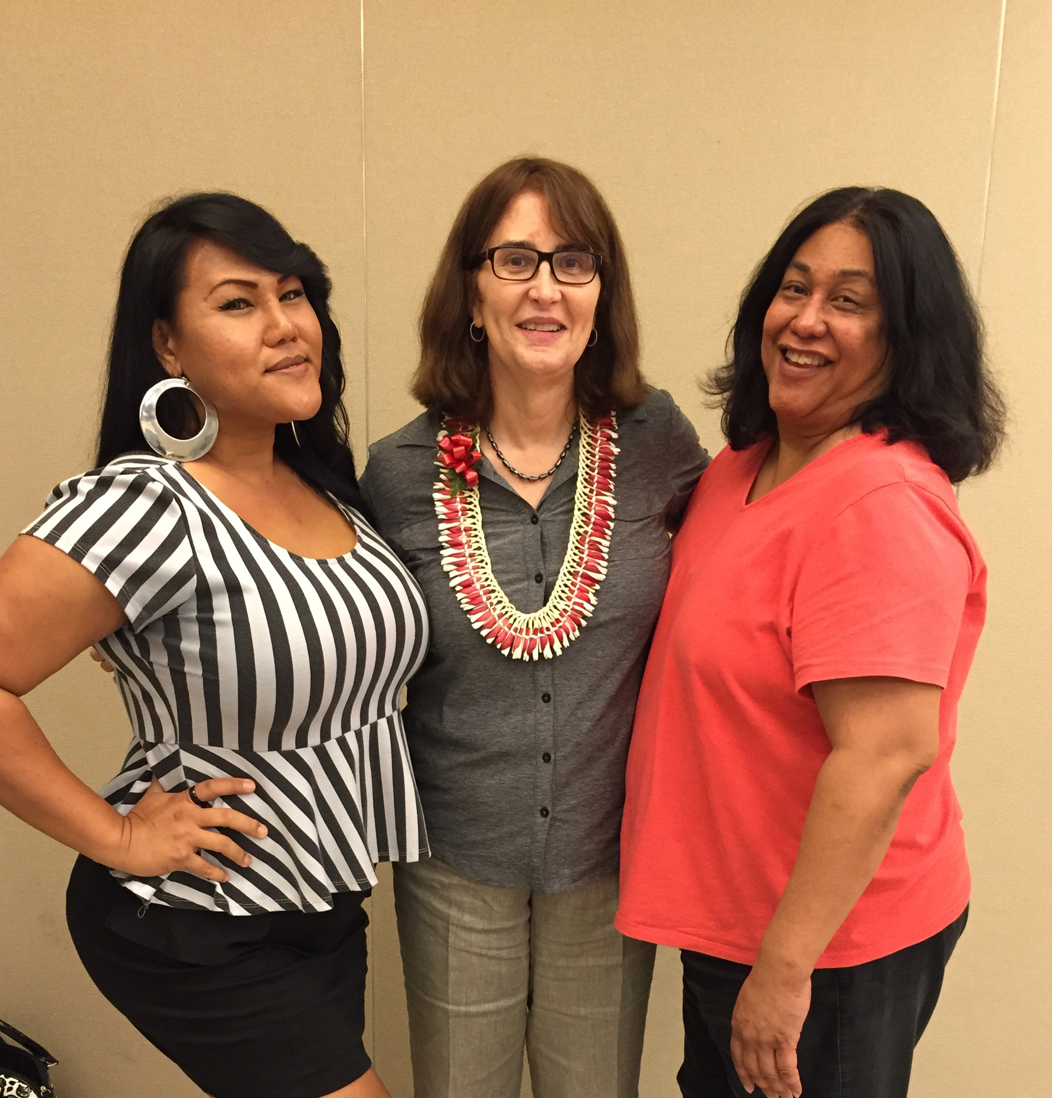 NCTE Executive Director, Mara Keisling (center) with Kathy Capua (left), Life Foundation and Sina Sison (right), Life Foundation)