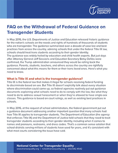 New Guidance To Help Protect Student >> Faq On The Withdrawal Of Federal Guidance On Transgender Students