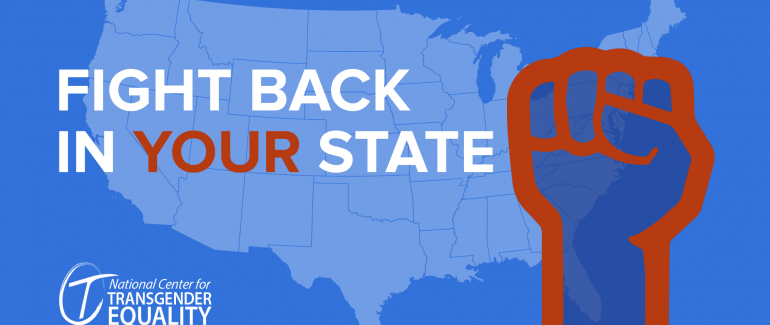 """A graphic showing the United States' silhouette in the background. Overlaid is text saying, """"Fight back in your state!"""" and a graphic of a fist."""