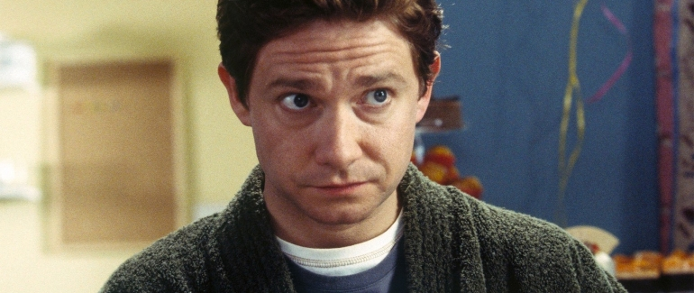 "Martin Freeman as Arthur Dent in the 2005 film, ""A Hitchhiker's Guide to the Galaxy."""