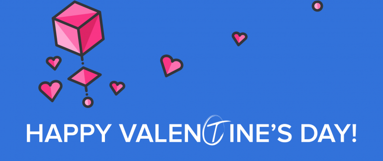 "A graphic with a blue background. In the foreground are pink hearts and cubes, and white text saying ""Happy Valentine's Day!"""