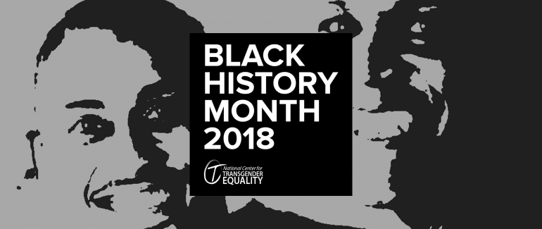 "A black-and-white graphic with a stylized image of Phillipe Cunningham and Andrea Jenkins in the background, and a box in the foreground saying, ""Black History Month 2018,"" and featuring NCTE's logo."