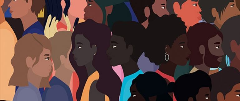 Cover of new report. Illustration of large diverse group of people in a crowd.