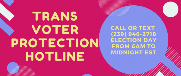 Graphic saying call or text the National Trans Voter Protection Hotline at 239-946-2718