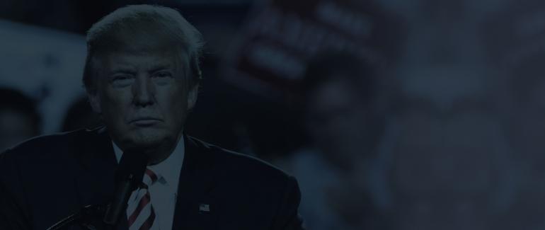 Trump on a blue gradient