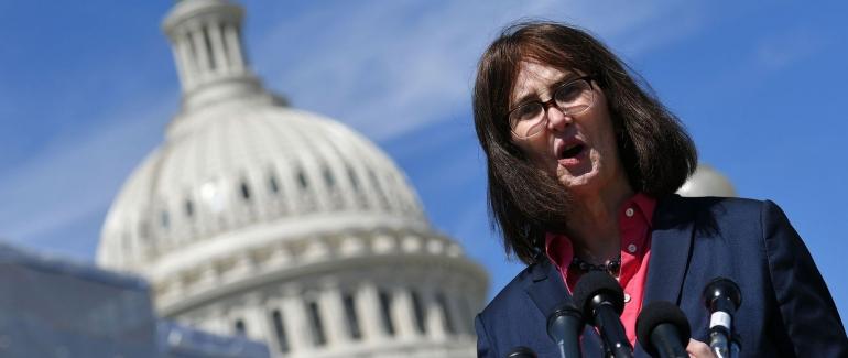 Mara Keisling speaking at the Capitol Building
