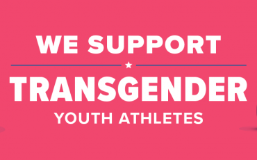 "Pink banner with text ""we support transgender student athletes"""