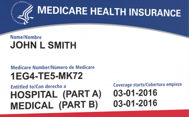 Sample Medicare Health Insurance card.
