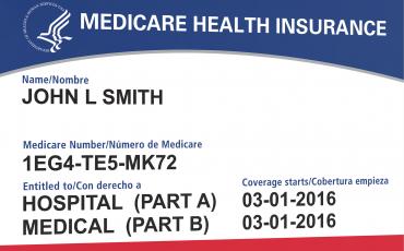 Ejemplo de tarjeta de seguro de salud de Medicare.
