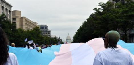 Giant trans flag unfurling before White House