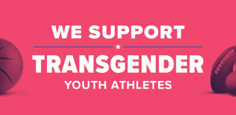 """Pink banner with text """"we support transgender student athletes"""""""